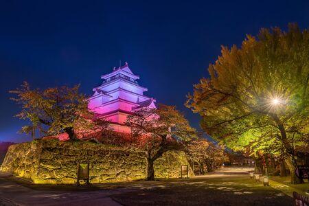 A stunning night scene of full bloom of ginkgo blossom at Tsuruga-jo castle, light up at night time. Aizu Wakamatsu, Fukushima Japan. Archivio Fotografico - 134327029
