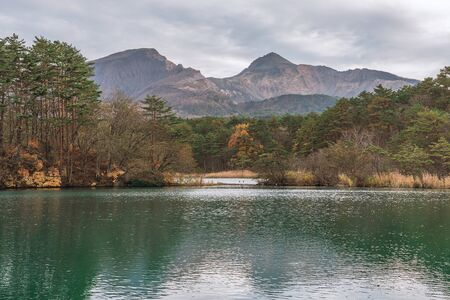 Goshikinuma lake and Mt. Bandai at Goshikinuma in Fukushima, Japan Archivio Fotografico - 134327123