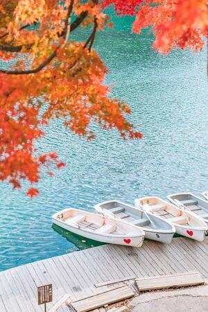 Autumn Leaves at Goshikinuma (Five Volcanic Lakes or Five Colored Lakes), a popular destination in Bandai Highlands in autumn in Fukushima prefecture, Japan Archivio Fotografico - 134327125