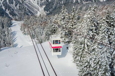Shinhotaka Ropeway (Shin-Hotaka), Cable car station during snowing on winter in Takayama, Gifu, Japan