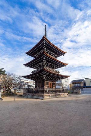 Pagoda at Hida Kokubunji Temple, which is a three-story tall buddhist temple, built around 757. Hida Kokubunji was made a National Historic Site