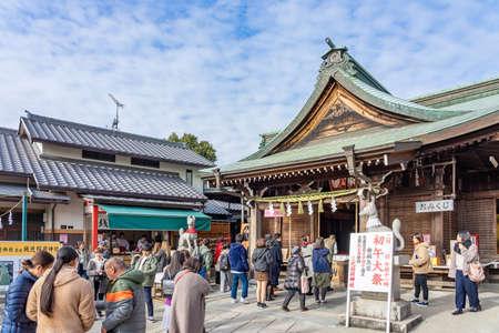 INUYAMA, JAPAN - JANUARY 18, 2020: Sanko Inari Shrine at Inuyama Castle in Aichi Prefecture, Japan on January 18, 2020. Aichi Prefecture is a prefecture of Japan located in the Chubu region.