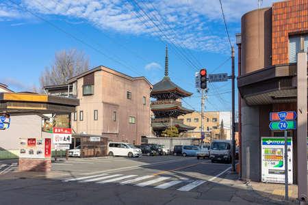 TAKAYAMA, GIFU - JANUARY 18, 2020: Pagoda at Hida Kokubunji Temple, which is a three-story tall buddhist temple, built around 757. Hida Kokubunji was made a National Historic Site Редакционное