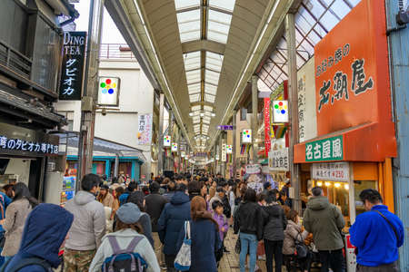 NAGOYA, JAPAN - JANUARY 18, 2020: Osu Kannon shopping street in Nagoya, Japan. one of the famous marketplace and shopping attractions in Nagoya City, with some tourists.
