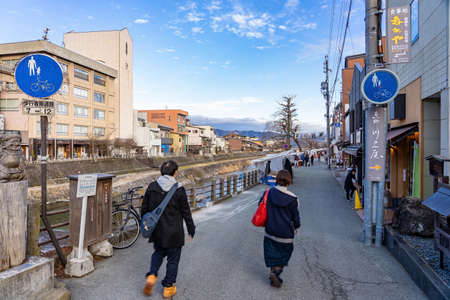 Tourists walking around miyagawa morning market Is an old market Near the Miyagawa River There are vegetables, fruits and food sold. Including local souvenirs Редакционное