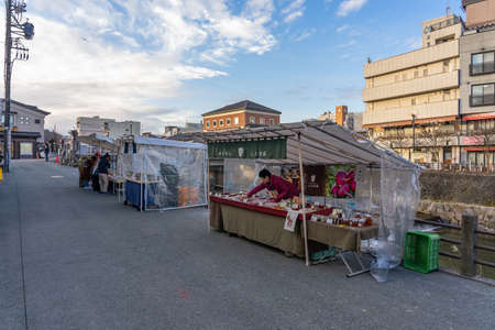 Tourists walking around miyagawa morning market Is an old market Near the Miyagawa River There are vegetables, fruits and food sold. Including local souvenirs 報道画像