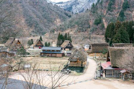 TOYAMA, JAPAN - JANUARY 16, 2020: Gassho-zukuri house at Suganuma village, Gokayama area, Nanto City, Toyama Prefecture, Japan. UNESCO World Heritage Site,Historic Villages of Shirakawa-go and Gokayama.