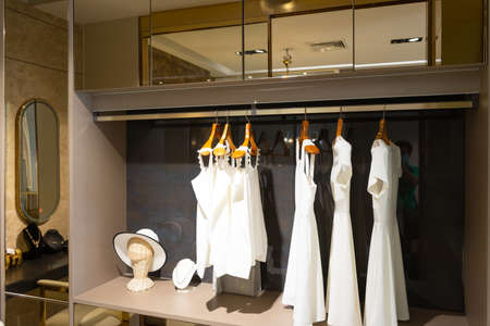 modern wooden wardrobe with women clothes hanging on rail in walk in closet, Scandinavian style