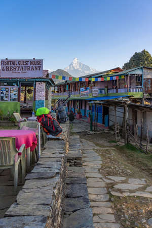 View of Beautiful landscape of Himalaya Mountain Fishtail Machapuchare from Fishtail Guest house & Restaurant