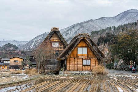Shirakawa-Go of vintage japanese village in winter season with white snowing cover, Shirakawago Gifu, Japan is historic Japanese gassho villages,registered as UNESCO