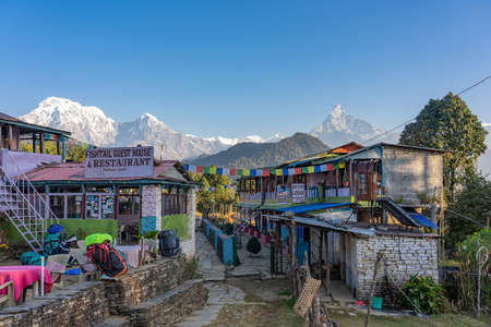 View of Beautiful landscape of Himalaya Mountain Fishtail Machapuchare from Fishtail Guest house & Restaurant Фото со стока - 152282041