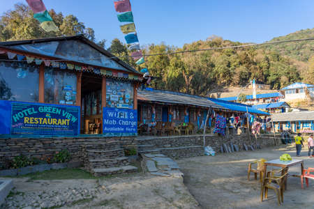 View of Forest Camp Guest House & Restaurant on Mardi Himal trek at blue sky, Annapurna mountain range in Nepal Фото со стока - 152282045