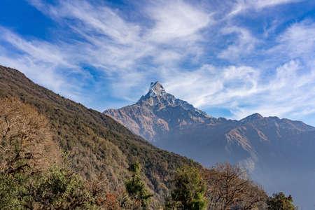 Machapuchare mountain ( Fishtail Mount) , Scenic viewpoint of Machapuchare mountain from upper viewpoint 4200 m. in Mardi Himal treking route in Annapurna Himalayas area near Pokhara ,Nepal Фото со стока - 155997290