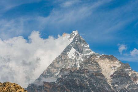 Machapuchare mountain ( Fishtail Mount) , Scenic viewpoint of Machapuchare mountain from upper viewpoint 4200 m. in Mardi Himal treking route in Annapurna Himalayas area near Pokhara ,Nepal