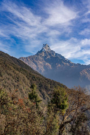 Machapuchare mountain ( Fishtail Mount) , Scenic viewpoint of Machapuchare mountain from upper viewpoint 4200 m. in Mardi Himal treking route in Annapurna Himalayas area near Pokhara ,Nepal Фото со стока - 155997296