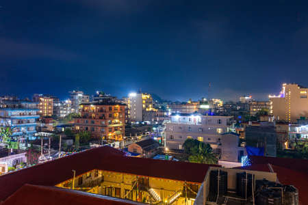 Night view of illuminated Pokhara city of Nepal seen from the rooftop of the hotel Фото со стока - 152285000