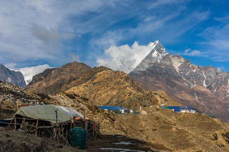 Machapuchare mountain ( Fishtail Mount) , Scenic viewpoint of Machapuchare mountain from upper viewpoint 4200 m. in Mardi Himal treking route in Annapurna Himalayas area near Pokhara ,Nepal Фото со стока - 155997886