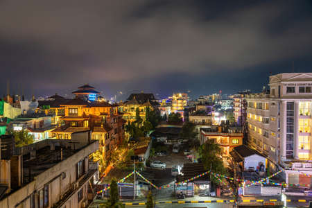 Night view of illuminated Pokhara city of Nepal seen from the rooftop of the hotel Фото со стока - 152282046