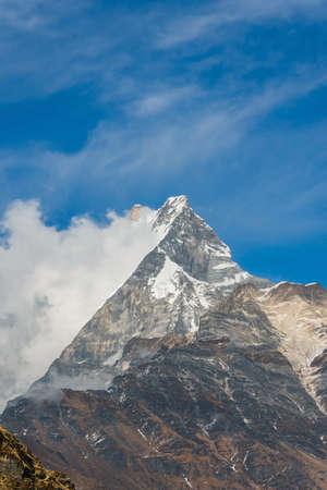 Machapuchare mountain ( Fishtail Mount) , Scenic viewpoint of Machapuchare mountain from upper viewpoint 4200 m. in Mardi Himal treking route in Annapurna Himalayas area near Pokhara ,Nepal Фото со стока - 155997889