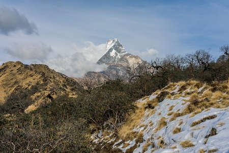 Machapuchare mountain ( Fishtail Mount) , Scenic viewpoint of Machapuchare mountain from upper viewpoint 4200 m. in Mardi Himal treking route in Annapurna Himalayas area near Pokhara ,Nepal Фото со стока - 155997892