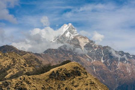 Machapuchare mountain ( Fishtail Mount) , Scenic viewpoint of Machapuchare mountain from upper viewpoint 4200 m. in Mardi Himal treking route in Annapurna Himalayas area near Pokhara ,Nepal Фото со стока - 155997896