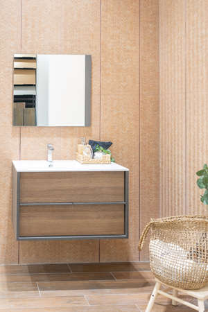 Bathroom interior with white wall, vintage furniture, towels, toilet and sink Фото со стока - 155997952