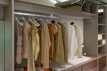 modern wooden wardrobe with women clothes hanging on rail in walk in closet, Scandinavian style Фото со стока - 151693869