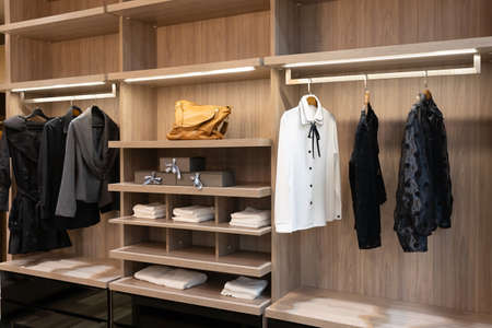 modern wooden wardrobe with women clothes hanging on rail in walk in closet, Scandinavian style Фото со стока - 151694044