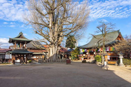 Hida Kokubunji old Shingon Buddhist Temple of Takayama, The wooden main hall is one of Takayama oldest building from Marunochi period (A.D.1336-1573)