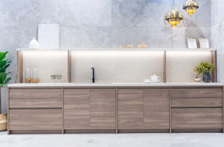 Bright modern kitchen with stainless steel appliances. Interior design. Фото со стока - 152115773