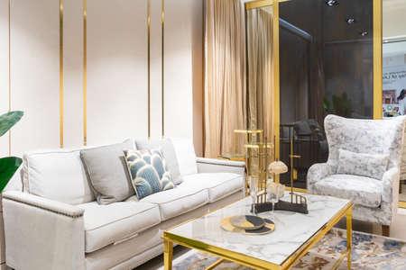 Living room interior with sofa, lamp and green tree Фото со стока