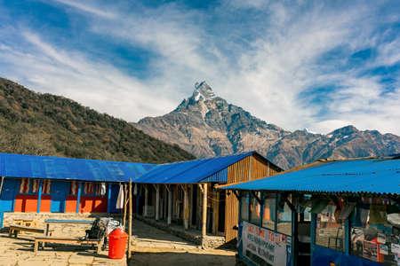 Machapuchare mountain ( Fishtail Mount) , Scenic viewpoint of Machapuchare mountain from upper viewpoint 4200 m. in Mardi Himal treking route in Annapurna Himalayas area near Pokhara ,Nepal Фото со стока - 152285002