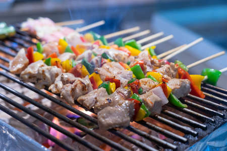 Assorted meat from chicken and pork and various vegetables on barbecue grill cooked for dinner Фото со стока - 151694943