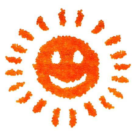 Funny caviar smiling sun for postcards or decoration Stock Photo