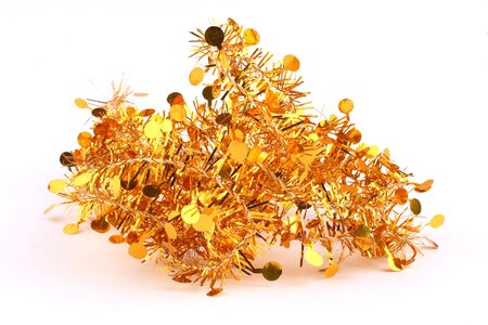 bunch of gold spangles garland for the Christmas tree
