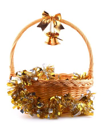 old golden bells and present basket with golden garland Stock Photo