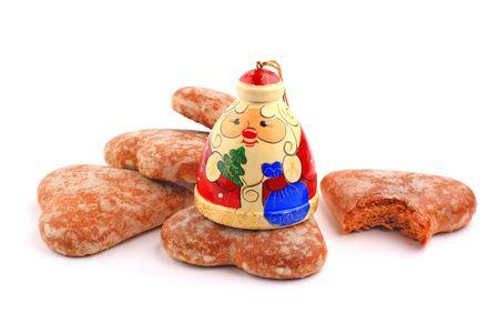 russian Santa Claus and bitten honey-cake photo