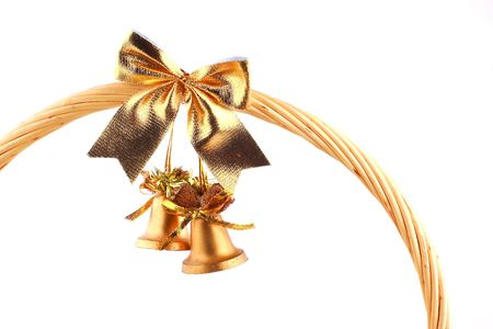 old golden bells attached to the grip of present-basket Stock Photo - 2073997