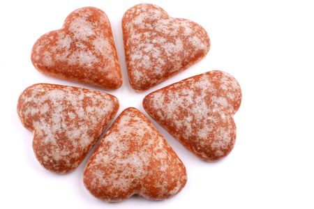 five hearts honey-cakes in the form of flower Stock Photo - 2074002