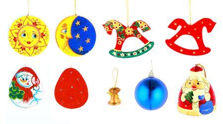 xmas and new year toys tree decoration set Stock Photo
