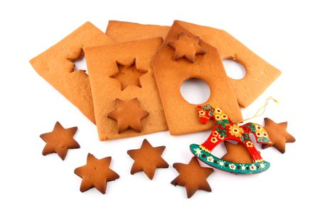 pattern of spice-cake house, sweet stars and red horse Stock Photo - 2158032