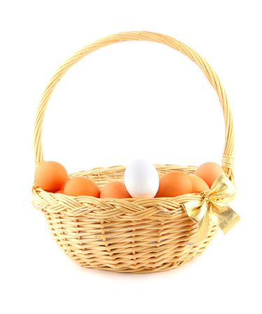 easter basket with a golden bow and multicolored chikens eggs