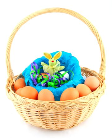 easter bunny in a basket with multicolored chickens eggs