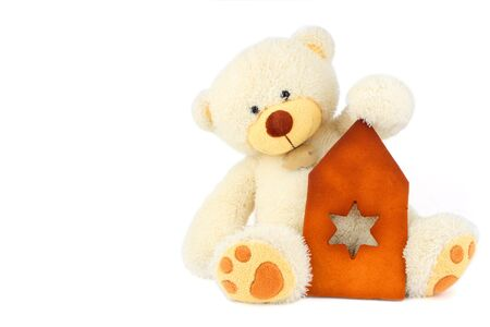 fluffy white teddy bear and part of gingerbread hause Stock Photo - 2374604