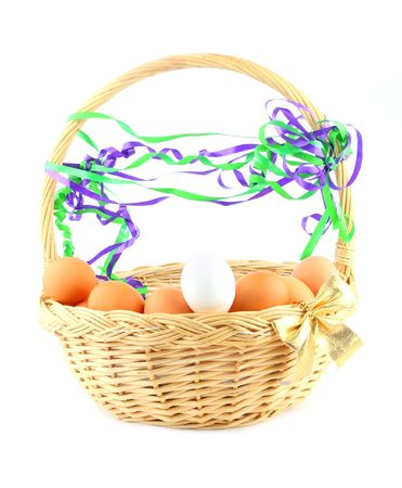 easter basket with a golden bow, chikens eggs  and multicolored garland