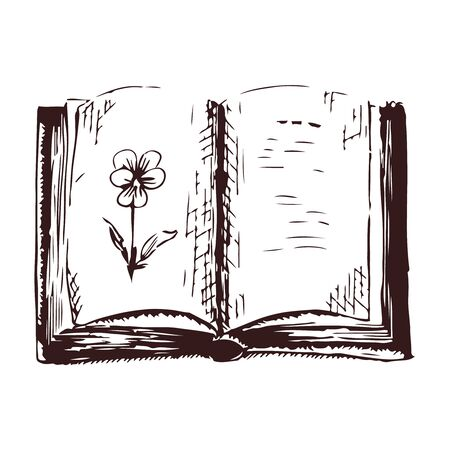 Open book with viola sketch engraving vector illustration. Black and white hand drawn image