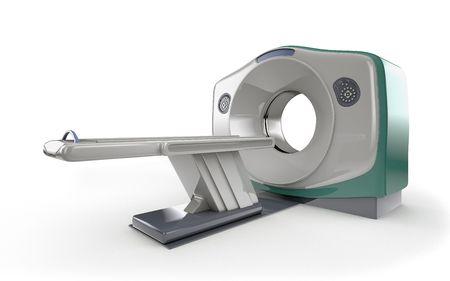 MRI scanner isolated on white background photo