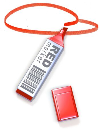 Red marker and selected area Stock Photo - 6856755