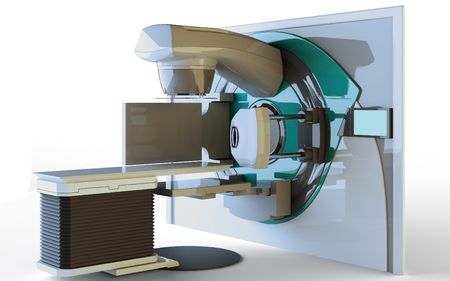 Linear Accelerator isolated on white background Banco de Imagens