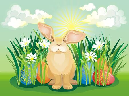 Easter bunny with hidden eggs on the sunny Background Vector